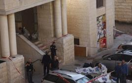 זירת הפיגוע בבית הכנסת בהר נוף