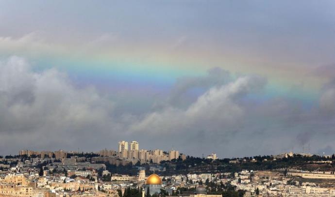 קשת בענן מעל העיר העתיקה בירושלים