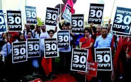 הפגנה להעלאת שכר מינימום