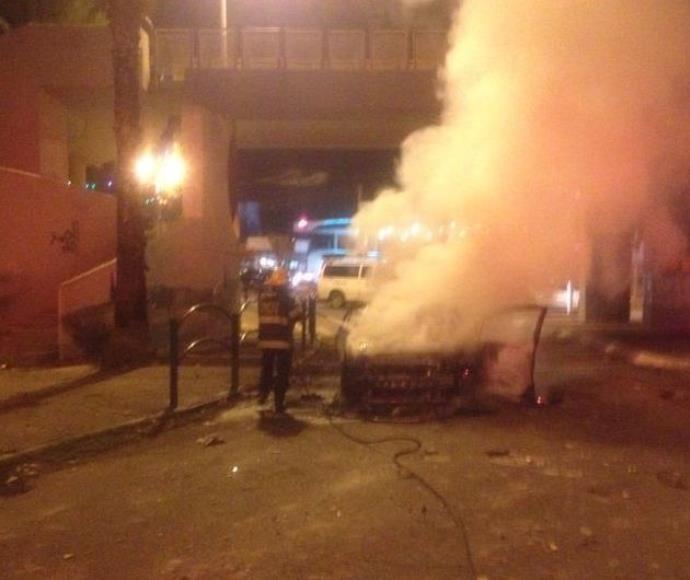 הרכב השרוף שהותקף בטייבה