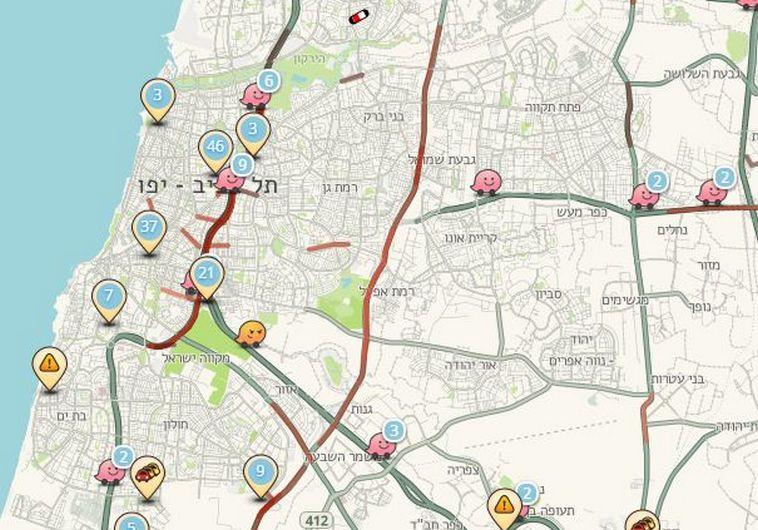 מפה של ווייז. צילום מסך