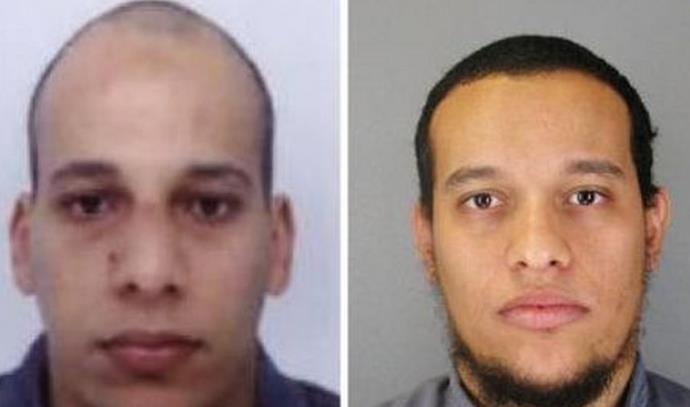 """סעיד (מימין) ושריף קואצ'י, החשודים בביצוע הפיגוע ב""""שארלי הבדו"""""""