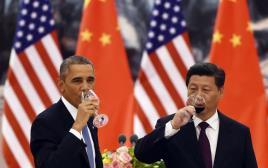 "נשיא סין שי ג'ינפינג ונשיא ארה""ב ברק אובמה"