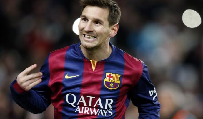 מסי חוגג את שער הניצחון מול אתליטיקו בגביע המלך