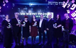 הזוכים בפרס ספיר, יחד עם עוזי דיין ואלי דדון