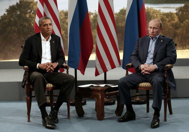 """נשיא רוסיה ולדימיר פוטין ונשיא ארה""""ב ברק אובמה"""