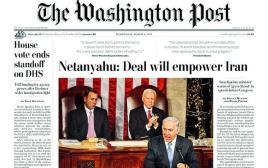 שער הוושינגטון פוסט לאחר נאום נתניהו בקונגרס