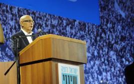 מאיר דגן נואם בעצרת בכיכר רבין