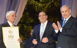נתניהו ופירון בהענקת פרס ישראל לחקר התלמוד, 2014