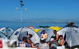 חוף לבנון בכינרת ביום הראשון של חול המועד פסח