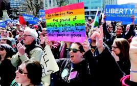 הפגנה נגד חוק חופש הדת באינדיאנה