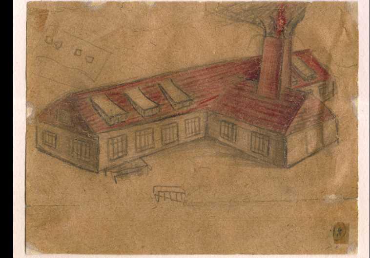 יהודה בקון, קרמטוריום מס' II (אושוויץ-בירקנאו), 1945, עיפרון ועיפרון צבעוני על נייר, 10x13 סמ'