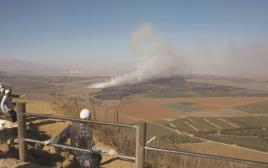 דרוזים צופים בלחימה בסוריה