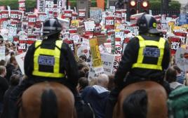 הפגנה נגד התוכנית הכלכלית של הממשלה בלונדון
