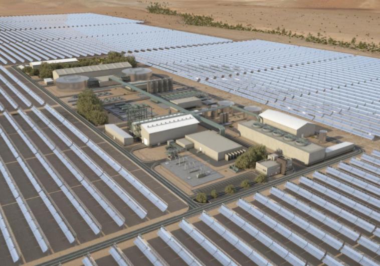 """הדמיית תחנת הכוח הסולארית באשלים. צילום: יח""""צ"""