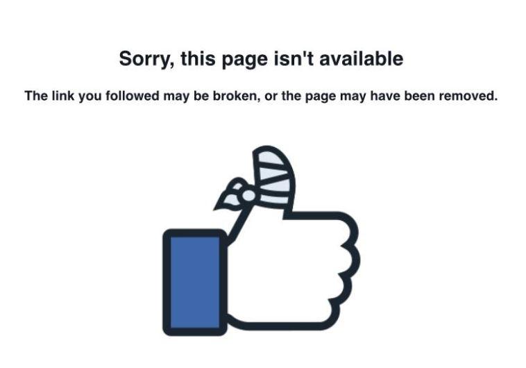 הדף לאחר הסרתו מפייסבוק. צילום מסך פייסבוק