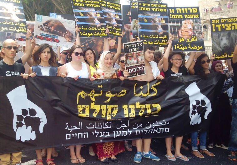 הפגנה למען זכויות בעלי החיים בחיפה