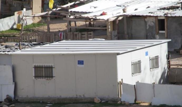מבנה במחנה פלסטיני ליד מעלה אדומים שנבנה במימון אירופי