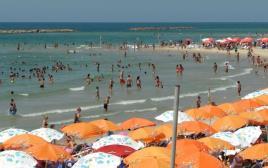 המונים בחוף הים נמלטים מהחום הכבד