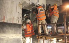 ההכנה של גשר מעריב לפיצוץ, עבודות לבניית הרכבת הקלה