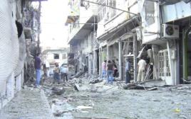 מבנה שהותקף בעיר זבדאני, סוריה
