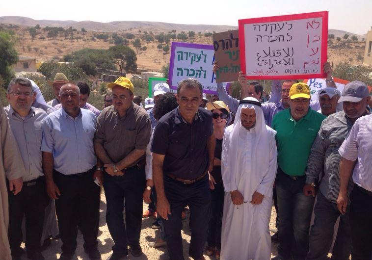 הפגנה של בדואים המוחים נגד הריסת הכפר אום אל-חיראן