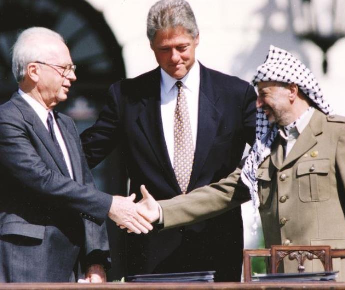 יצחק רבין, יאסר ערפאת וביל קלינטון, הסכם אוסלו, 1993