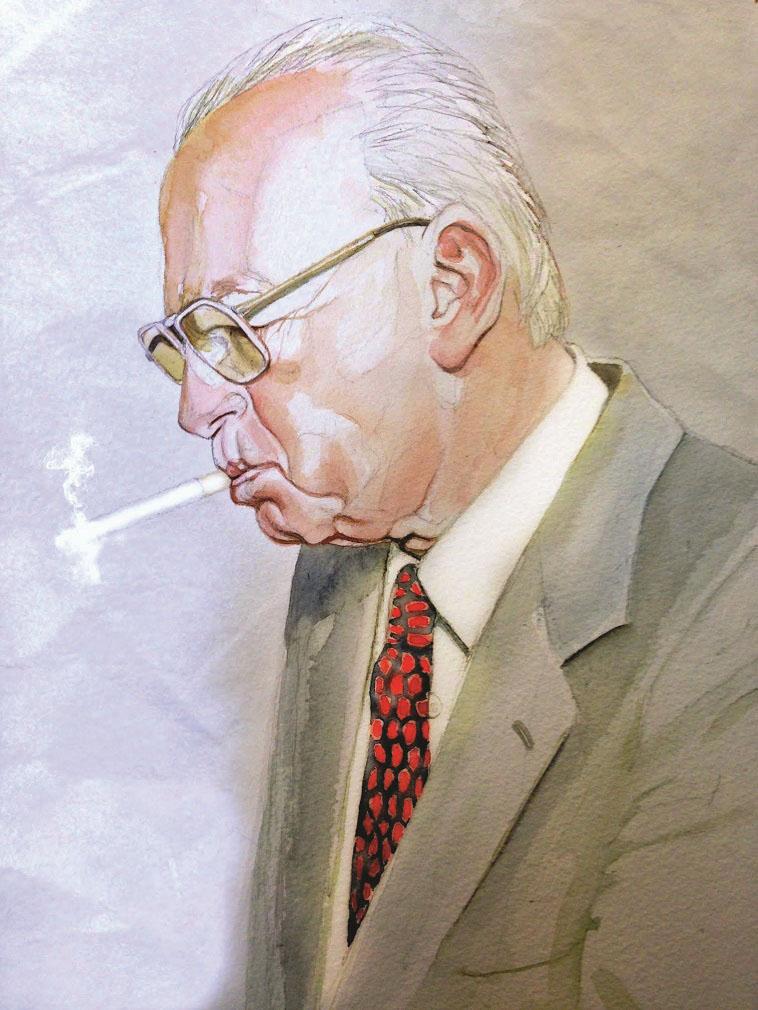 יצחק רבין, איור: נעמי ליס-מיברג