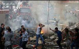 ההרס ברובע דאחיה לאחר הפיגועים