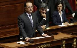 נשיא צרפת פרנסואה הולנד נואם בארמון וורסאי