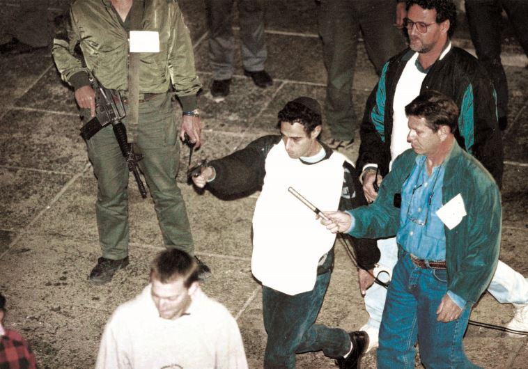 יגאל עמיר בשחזור רצח רבין. צילום: נעם וינד