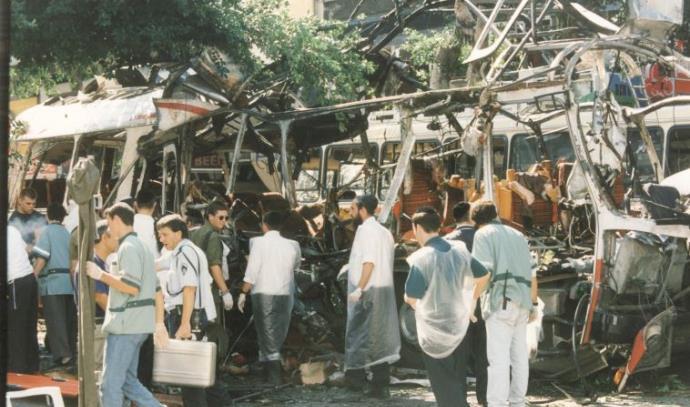 זירת הפיגוע בקו 5 בתל אביב ב־1994