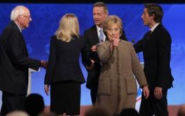קלינטון ומועמדים אחרים בעימות המפלגה הדמוקרטית
