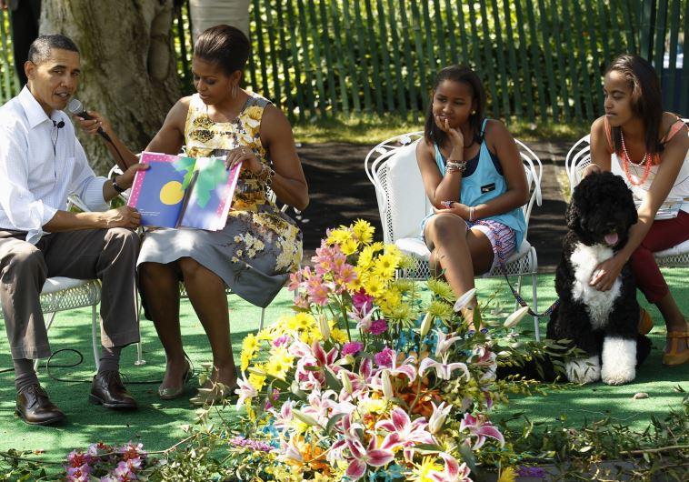 מודל המשפחה הרגילה. משפחת אובמה והכלב בו, צילום: רויטרס