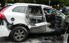 פיצוץ הרכב על גבול רמת גן -תל אביב