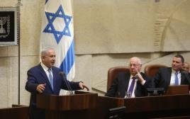 """רה""""מ בנימין נתניהו ונשיא המדינה ראובן ריבלין במליאת הכנסת"""