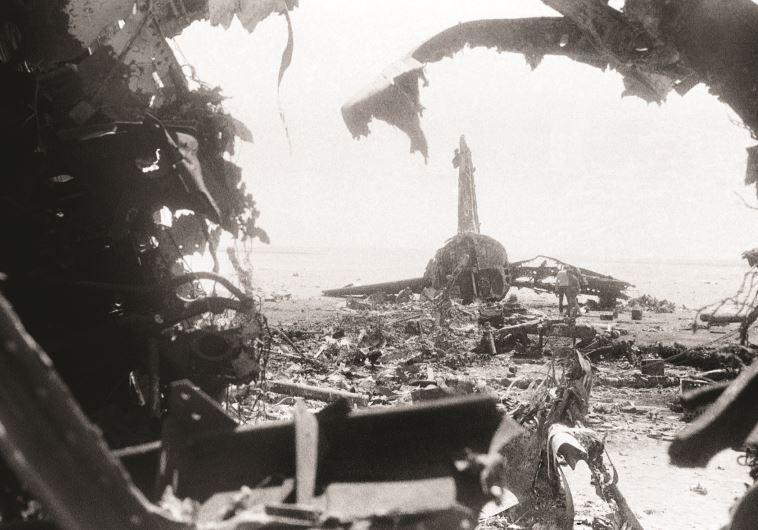 שברי מטוס סוויסאייר שפוצץ בירדן לאחר חטיפתו, 1970