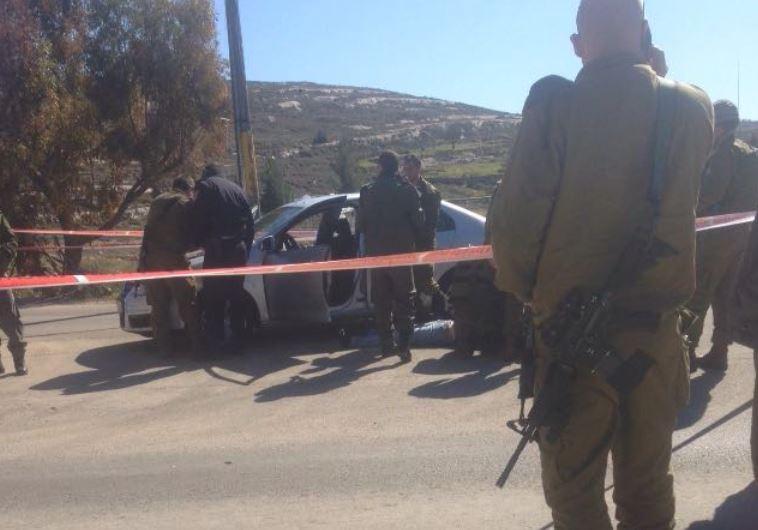 """זירת פיגוע הירי ליד בית אל. צילום: רבש""""צ בית אל רפי אלוש"""
