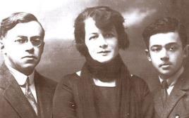 זאב ז'בוטינסקי עם אשתו ובנו