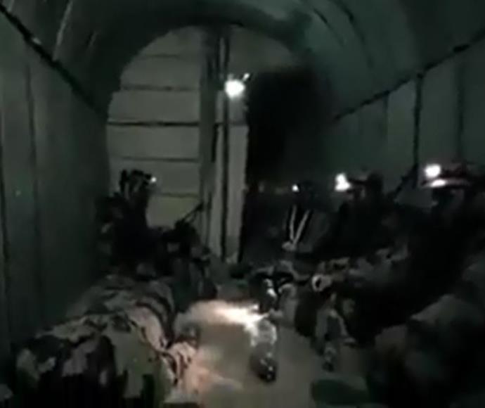 סרטון תדמית של חמאס ובו נראית מנהרה