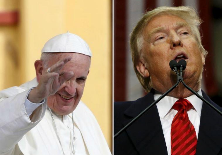 שלחו איחולי החלמה. דונלד טראמפ והאפיפיור פרנציסקוס. צילומים: רויטרס