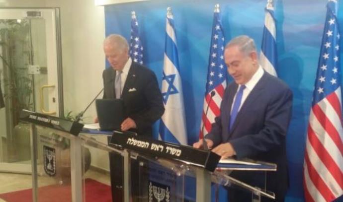 """רה""""מ נתניהו עם סגן נשיא ארה""""ב ג'ו ביידן המבקר בישראל"""