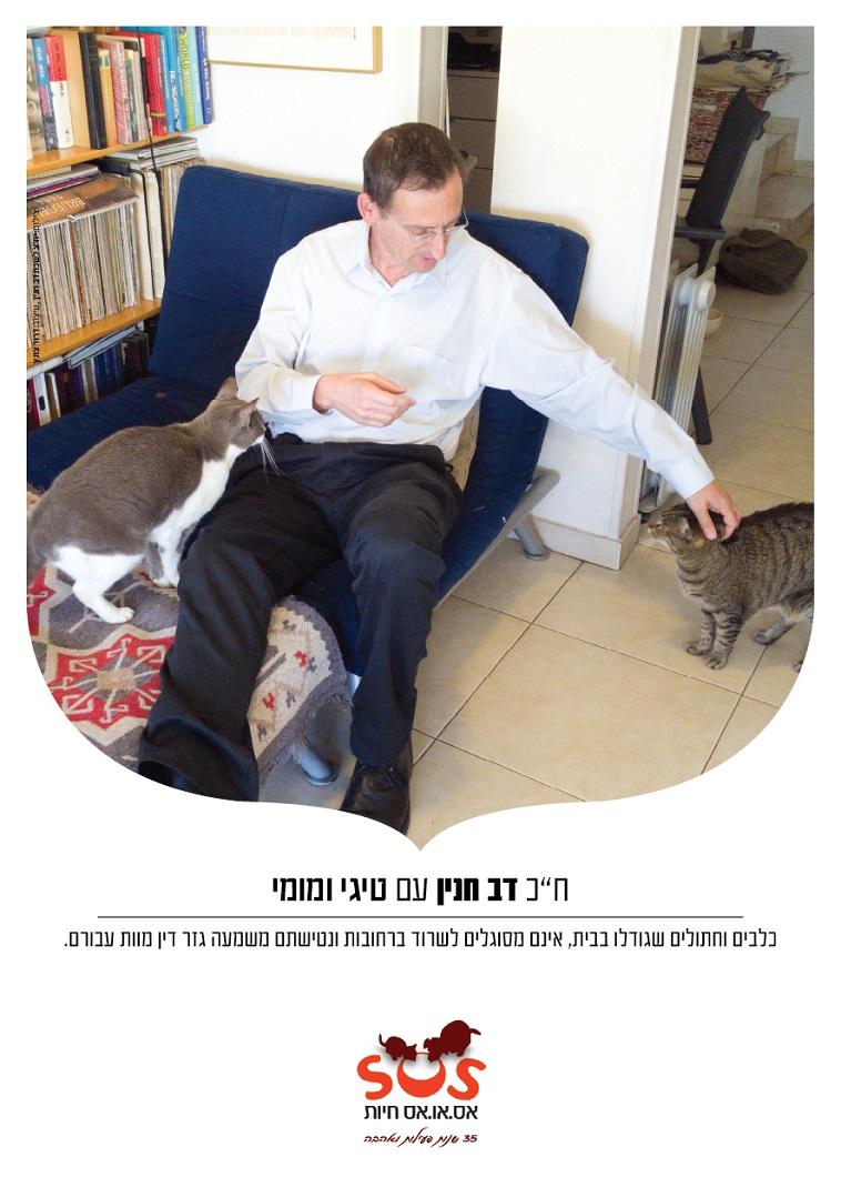 """דב חנין והחתולים. צילום: יח""""צ"""