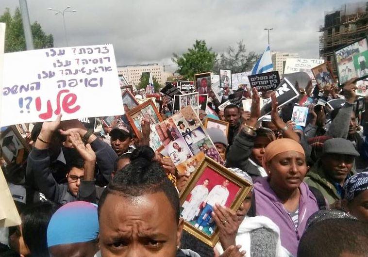 """מחאה למען העלאת בני הפלשמורה. צילום: עמוד פייסבוק """"אתיופיה הקטנה"""""""