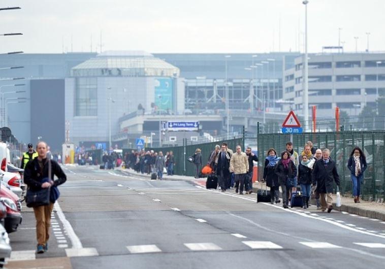 שדה התעופה בבריסל מפונה מנוסעים. צילום: Getty images