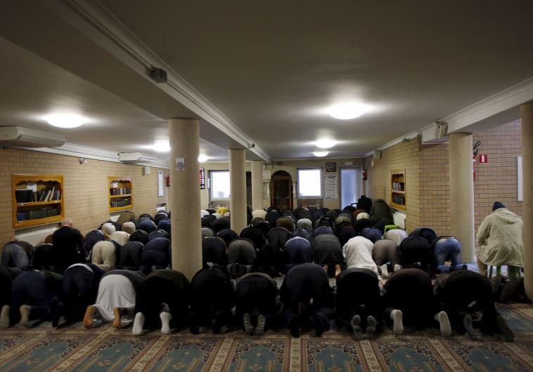 מוסלמים מתפללים במסגד במולנבק, בלגיה. צילום: רויטרס