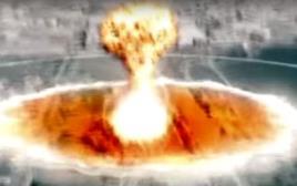 פגיעת הטיל הקוריאני בוושינגטון בסרטון התעמולה