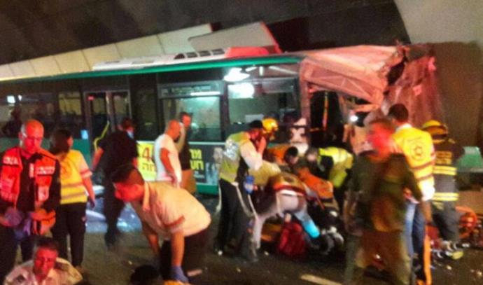 תאונת אוטובוס במנהרות הכרמל בחיפה