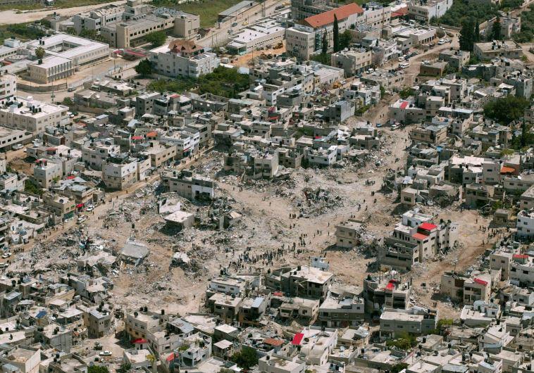 """ההרס במחנה הפליטים לאחר הקרב. צילום"""" דובר צה""""ל"""