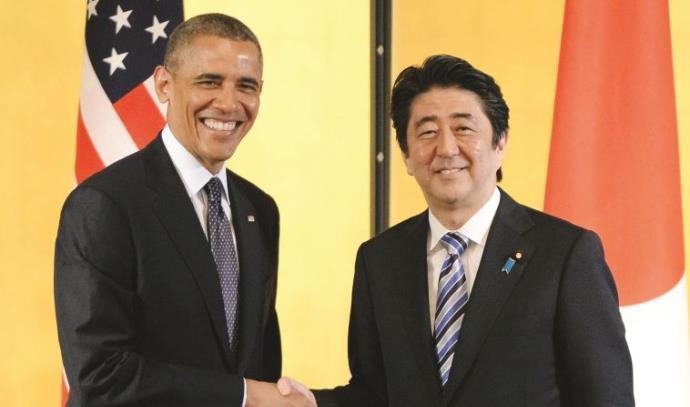 ברק אובמה וראש ממשלת יפן שינזו אבה